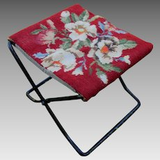 Circa 1920s Ford, Model T Folding Stool, Needlepoint Footstool for Traveling