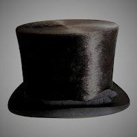 Antique c1870-1880s Gentlemans Seal, Silk Plush Top Hat