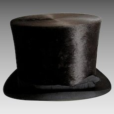 Antique c1870-1880s Gentlemans Seal, Silk Plush Top Hat