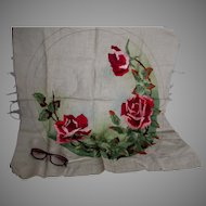 Beautiful c1905 Embroidered Tablecloth with Red Roses