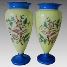 Lovely Antique Bristol Glass Vases with Enamel Birds & Flowers