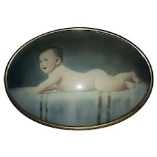 Antique Edwardian Bubble Glass Frame with Hand Tinted Baby Photograph