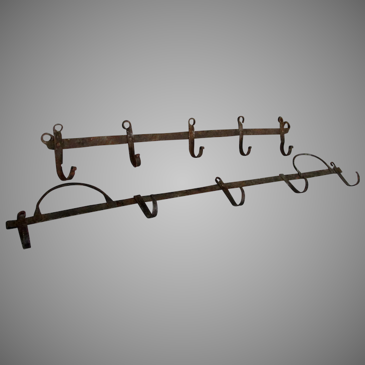 Antique Wrought Iron Kitchen Racks with Hooks, Architectural Hangers