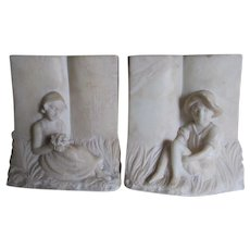Lovely Hand Carved Alabaster Bookends of a Boy & Girl with Books