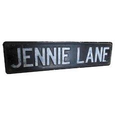 Vintage Double Sided Street Sign, Jennie Lane