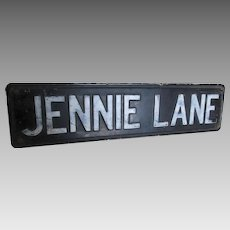 Vintage Double Sided Street Sign, Jennie Lane