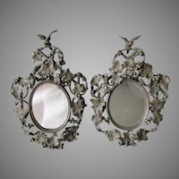 Antique c1880s Victorian Brass Picture, Mirror Frames, Birds & Grape Vines