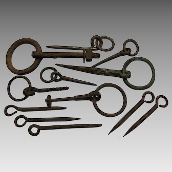 Antique 19thC Primitive Hand Forged Iron Architectural Elements