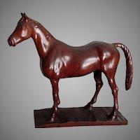 Vintage Folk Art Sculpture of a Horse, Hand Carved Walnut Wood