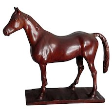 Vintage Folk Art Sculpture of a Horse, Hand Carved Walnut Wood
