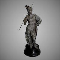 Antique c1880s Sculpture of a Soldier with Gargoyle Helmet