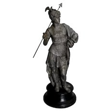 Antique c1880s Sculpture of a Soldier with Gargoyle Helmet