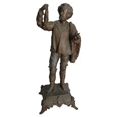 Antique c1880s Victorian Sculpture of a Fisherman, Nautical, Maritime