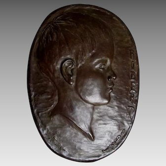 Charming Circa 1923 Bronze Plaque of a Little Boy, Signed Thompson