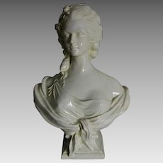 Antique French Majolica, Faience Bust of a Lovely Lady