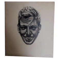 Vintage Illustration, Pencil Sketch of a Smiling Gentleman, Mid Century