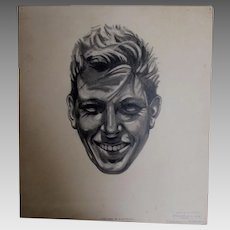 Vintage Illustration, Pencil Sketch of a Smiling Gentleman, Mid Century