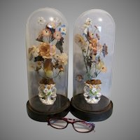Pair Antique c1880s Victorian Glass Domes with Staffordshire Vases