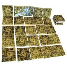 Set of 25 Art Nouveau, Arts & Crafts Art Pottery Tiles, Architectural