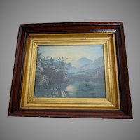 Antique c1880 Deep Walnut Picture Frame with Lemon Gilt, Gold