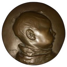 Lovely Bronze Baby Plaque by Artist Julio Kilenyi 1885-1959
