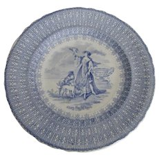 19th Century Staffordshire Transferware Plate, Lady with Hawk & Dog