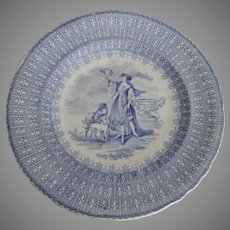 19th Century Staffordshire Transferware Plate, Lady with Hawk & Dog