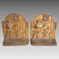 c1930s Southwestern Cast Iron Bookends, Music Serenade, by Gregory Seymour Allen