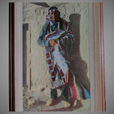 Hand Tinted Photograph Print of a Native American Indian