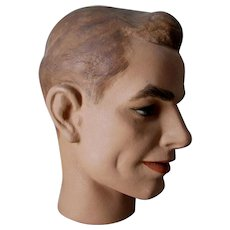 Circa 1940-1950s Male Mannequin Head, Fashion, Advertising Hat Display