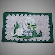 Vintage Folk Art Hooked Rug of a White Poodle Dog with Basket