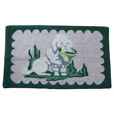 Vintage Folk Art Hooked Rug of a White Poodle Dog with Basket