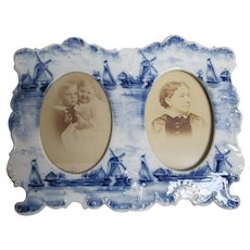 Antique Hand Painted Porcelain Picture Frame with Dutch Motif