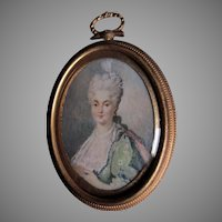 Antique Miniature Painting of a Lovely Lady in Lace