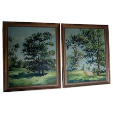 Pair Vintage Impressionistic Landscape Oil Paintings, Connecticut