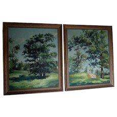 Pair Vintage Impressionistic Landscape Oil Paintings, Connecticut