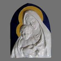 Italian Majolica, Faience Plaque of the Madonna & Baby Jesus