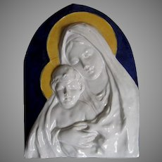 Italian Majolica, Faience Plaque of the Madonna & Baby Jesus