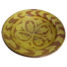 Primitive French Country Bowl with Mustard Yellow Glaze