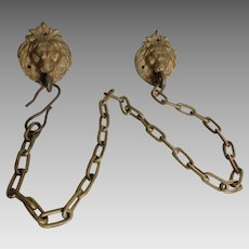 Antique 19thC Architectural Lion Heads with Chains