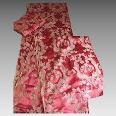 Beautiful Art Deco Curtain Drapes, Satin Rayon Fabric Yardage