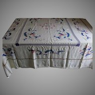 Antique Silk Crepe Chinese Embroidered Tablecloth with Dragons