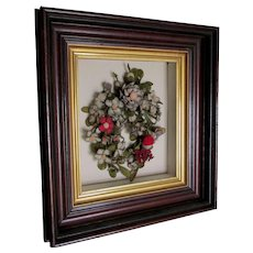 Antique Victorian c1880s Berlin Wool Flowers in Shadowbox Frame
