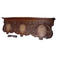 Pretty Antique Art Nouveau Hand Carved Oak Shelf with Picture Frames