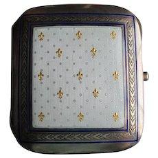 Antique Enamel Cigarette Case, French Fleur de Lis, 800 Silver, Hallmarked