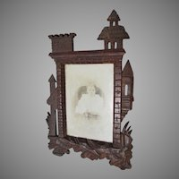 Antique Hand Carved Castle, German Black Forest Picture Frame, Mirror