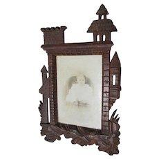 Antique Hand Carved Castle, German Black Forest Picture Frame, Mirror