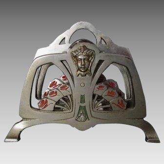 Antique Art Nouveau Letter Holder with Ladies Faces