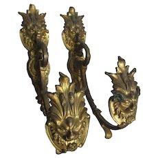 Pair French Gilt Brass Curtain Tiebacks with Lions, Gargoyle Faces