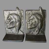 Arts & Crafts Native American Indian Bookends, White Bronze
